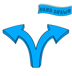 Blue arrow right and left combo sign hand drawn vector