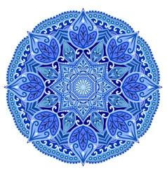 blue mandala geometric circle element on white vector image