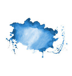 Blue watercolor splatter texture stain background vector