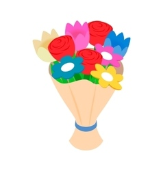 Bouquet of spring flowers isometric 3d icon vector image