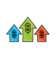 business arrow growth chart money dollar vector image