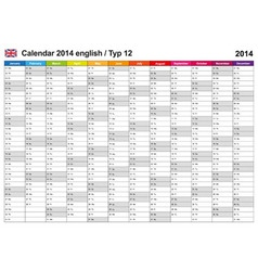 Calendar 2014 English Type 12 vector