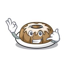 Call me bundt cake mascot cartoon vector
