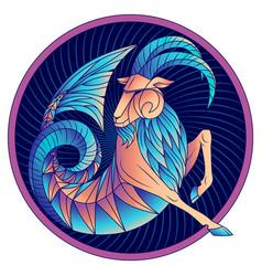 capricorn zodiac sign horoscope symbol blue vector image