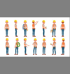 Classic electrician different poses vector