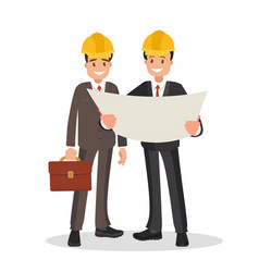 customer and contractor with project vector image
