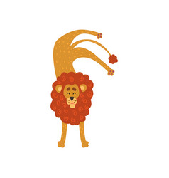 Cute lion cartoon character standing upside down vector