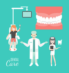 dental care dentist doctor and patient in medical vector image