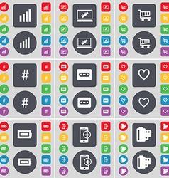 Diagram Laptop Shopping cart Hashtag Cassette vector image