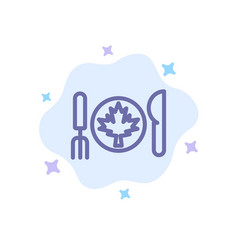 Dinner autumn canada leaf blue icon on abstract vector