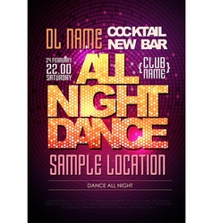 Disco poster dance all night vector image