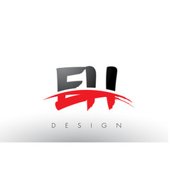 Eh e h brush logo letters with red and black vector