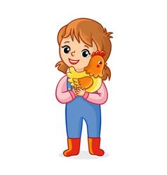 farmer girl on a white background holds vector image