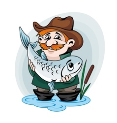 Fisherman catch a fish vector image
