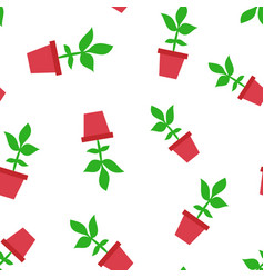 flower pot icon seamless pattern background vector image
