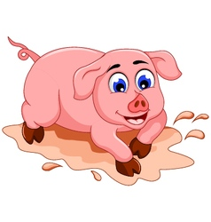 funny pig cartoon with mud puddle vector image