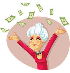 Funny retired senior woman throwing with money vector