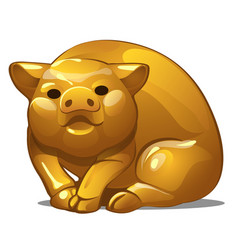 Golden figure of pig chinese horoscope symbol vector