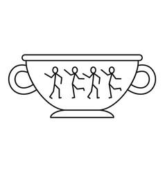 greek ancient bowl icon outline style vector image