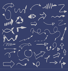hand-drawn isolated sketchy arrows colored vector image