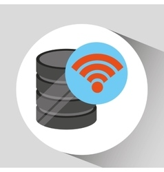 Hand holds data wifi connected icon vector