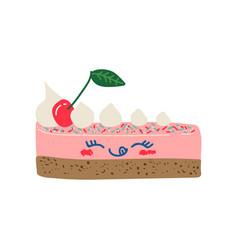 happy cute delicious piece cake cartoon vector image