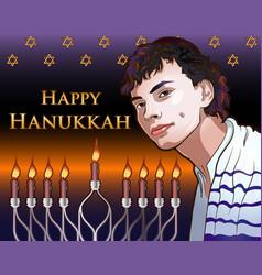 happy hanukkah shining with menorah vector image