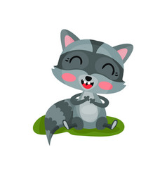 happy raccoon sitting on green grass and laughing vector image