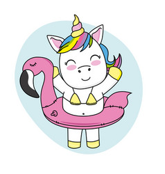 happy unicorn with swimsuit vector image