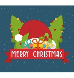 Hat gifts and pine trees of chistmas design vector