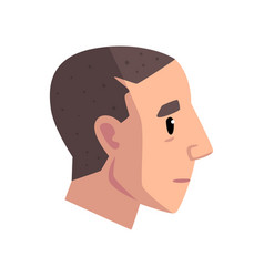 head of young man with short haircut profile of vector image