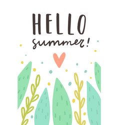 Hello summer cute plants and text vector