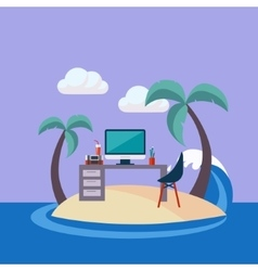 Home Office On The Small Island vector