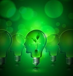 Human Head Light Bulbs Save Ecology Concept vector