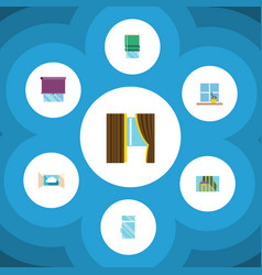 icon flat glass set of clean cloud curtain and vector image