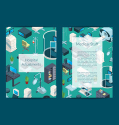 isometric hospital icons card or flyer vector image