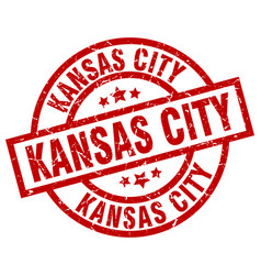 Kansas city red round grunge stamp vector