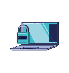laptop computer with padlock protection vector image