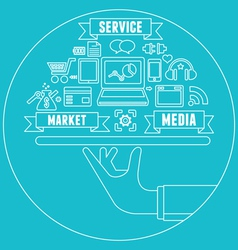 Line concept of media market service vector image