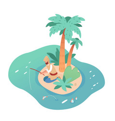 Lonely man character fishing on deserted island vector