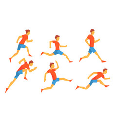 man dressed in sportswear running set male vector image