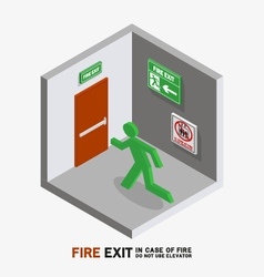 Man sign run to fire exit isometric vector