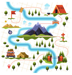 map of forest or woods and mountain hiking tourism vector image