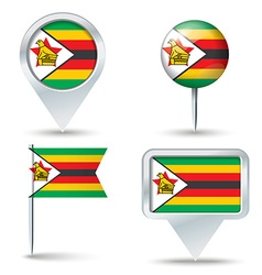 Map pins with flag of Zimbabwe vector image
