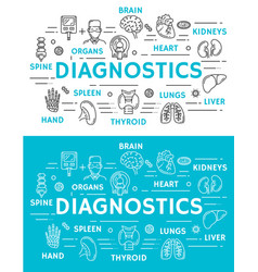 Medical diagnostics banner of diagnostic clinic vector