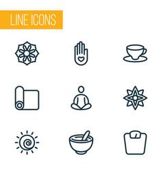 meditation icons line style set with mandala vector image