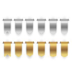 metal banners gold silver ribbon isolated vector image