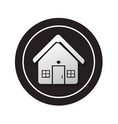 monochrome circular button facade house icon vector image