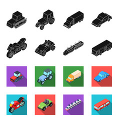 Motorcycle golf cart train bus transport set vector