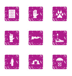 Nature of the error icons set grunge style vector